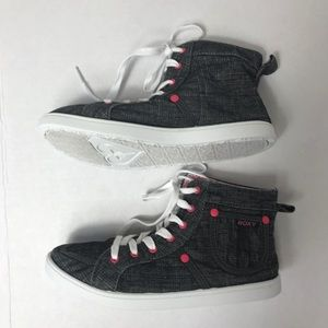 Roxy Grey Pink Canvas High Top Sneakers 5